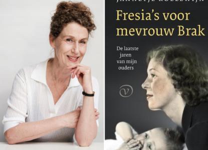 Jannetje Koelewijn met boek