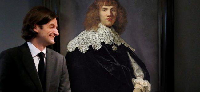 VERKLEIND Kunsthandelaar Jan Six XI junior bij Portret van een jonge man dat volgens hem van Rembrandt is