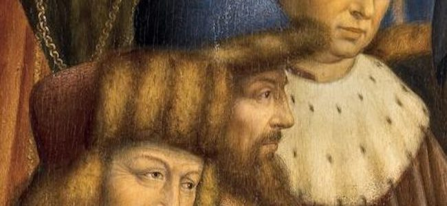 Het Lam Gods detail uit Paneel De Rechtvaardige Rechters c Collectie Sint Baafskathedraal Gent www artinflanders be Hugo Maertens